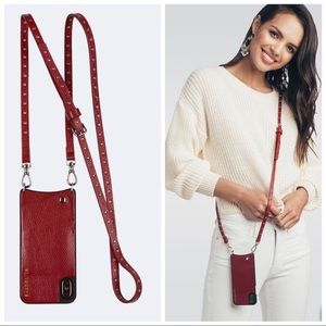 Bandolier Nicole Crimson Leather Crossbody Case